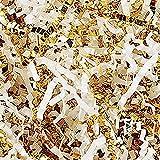 Custom & Unique {12 Ounces} of Crinkle Cut Shredded Gift Basket Filler Paper Made From Cardstock w/ Elegant Fancy Metallic & Matte Mix Light Spring Bridal Blend Formal Scatter Design (Gold & White)