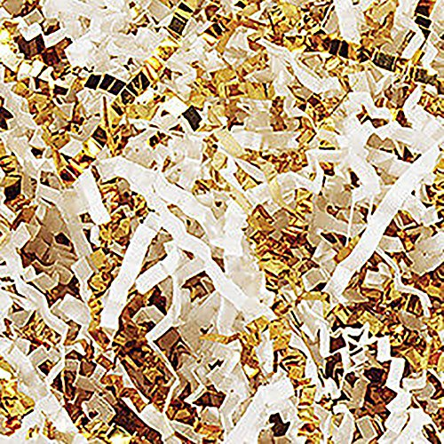 Custom & Unique {4 Ounces} of Crinkle Cut Shredded Gift Basket Filler Paper Made From Cardstock w/ Elegant Fancy Metallic & Matte Mix Light Spring Bridal Blend Formal Scatter Design (Gold & White) (Paper Mache Easter Baskets)