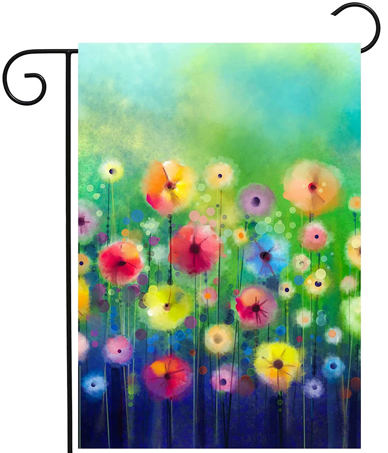 "ShineSnow Watercolor Abstract Spring Summer Seasonal Green Floral Flowers Painting Art Garden Yard Flag 12""x 18"" Double Sided Polyester Welcome House Flag Banners for Patio Lawn Outdoor Home Decor"