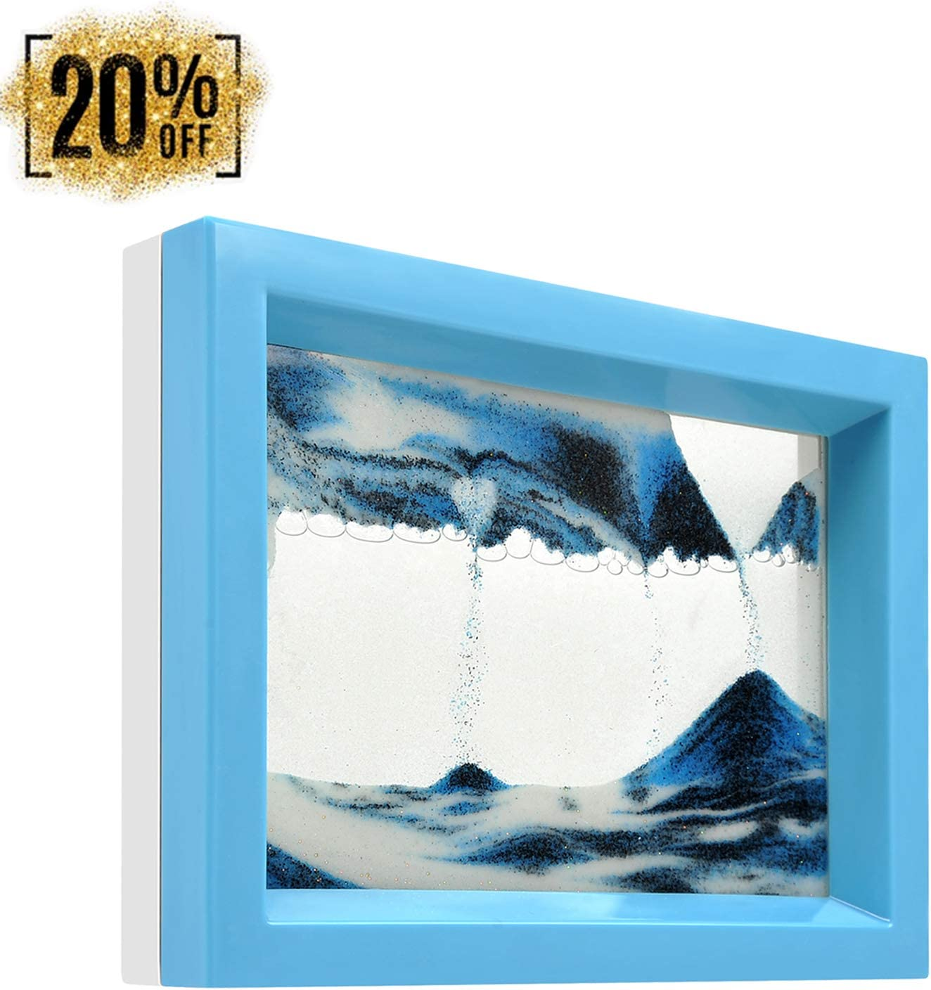 whimsyyy Dynamic Sand Picture Medium Desktop Art Toys Voted Best Gift!(Ocean Heart) - Black White Blue (Blue, Black,White,Blue)