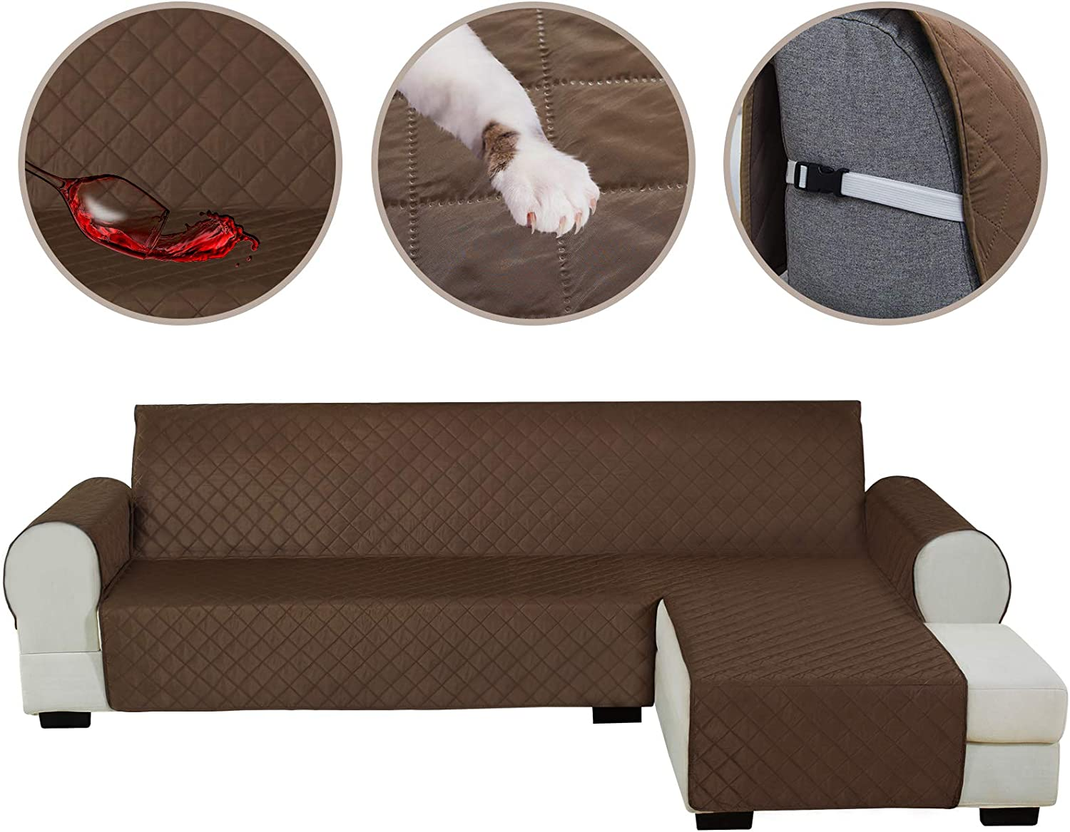 HDCAXKJ Sectional Couch Covers for Dogs Water Resistant L Shape Sofa Cover Pet Friendly Sectional Slipcovers Living Room Reversible Non Slip Furniture Protector with Straps Washable (Coffee, Large)