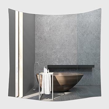 Home Decor Wandteppich Für Von Innen Bad Mit Schmale Fenster, Holzzuber  Beton Wände Und Eine