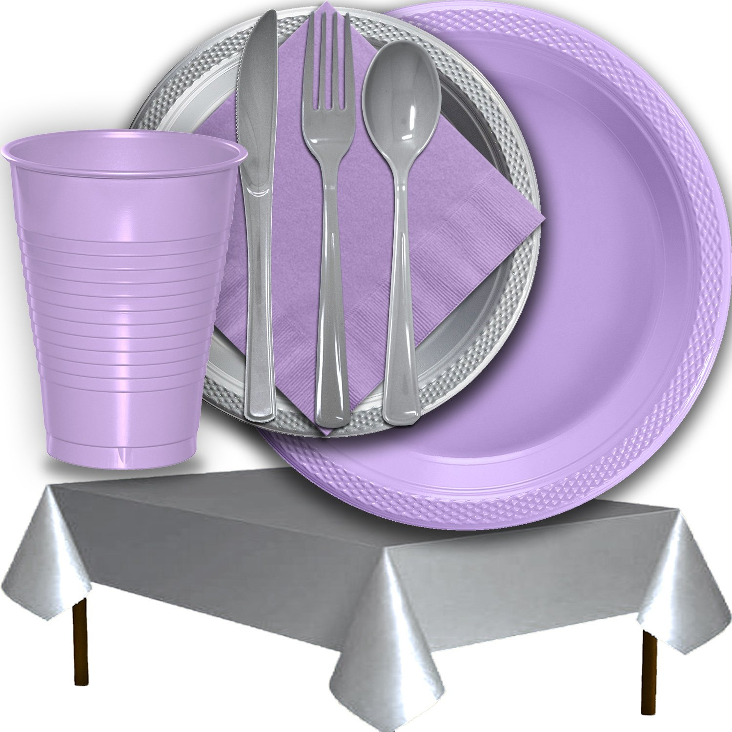 Plastic Party Supplies for 50 Guests - Lavender and Silver - Dinner Plates, Dessert Plates, Cups, Lunch Napkins, Cutlery, and Tablecloths - Premium Quality Tableware Set by HeroFiber (Image #3)