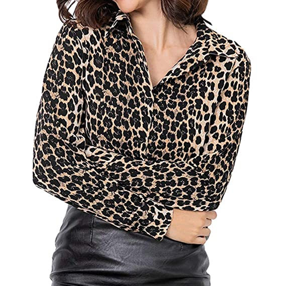Leopardo estampado Suelto Mujeres Elegantes Luckycat Mujer Superior Túnica Oferta Manga Camiseta Larga Casual De Blusas OPkTXZiu