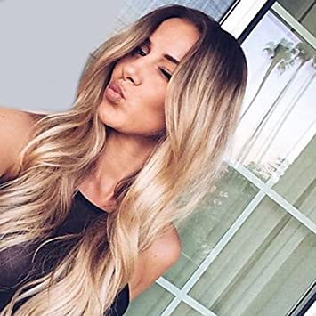 Superwigy Long Curly Synthetic 2 Tone Ombre Black Root To Honey Blonde Wigs For Women