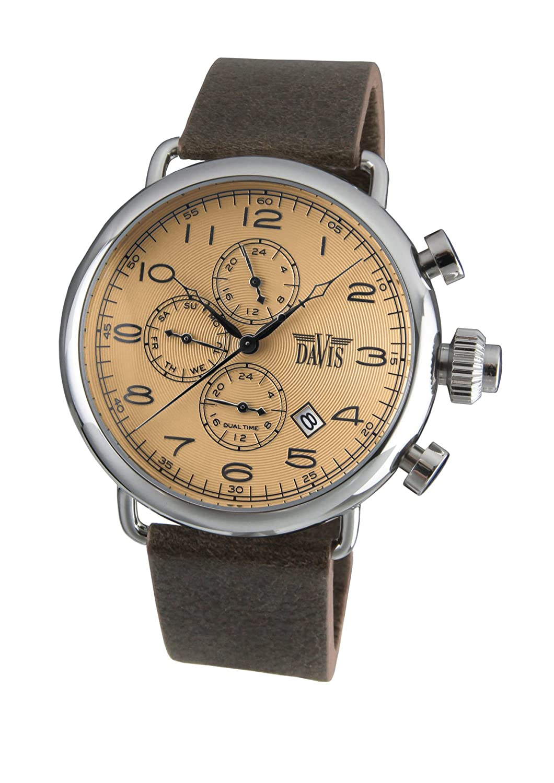 Davis 1932 - Herren Pilot Uhr Retro Ziffernblatt Bronze Dualzeit Tag Datum Lederarmband Braun