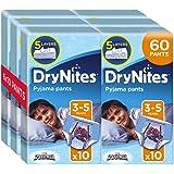 Drynites - Calzoncillos absorbentes, 6 Paquetes de 10 Unidades, talla 3 - 5 Niño