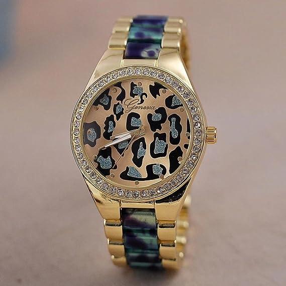 Belleza regalo 4 colores marca de lujo leopardo pulsera de moda Casual reloj de cuarzo de ginebra hombres y las mujeres vestido de relojes Relogio Feminino: ...