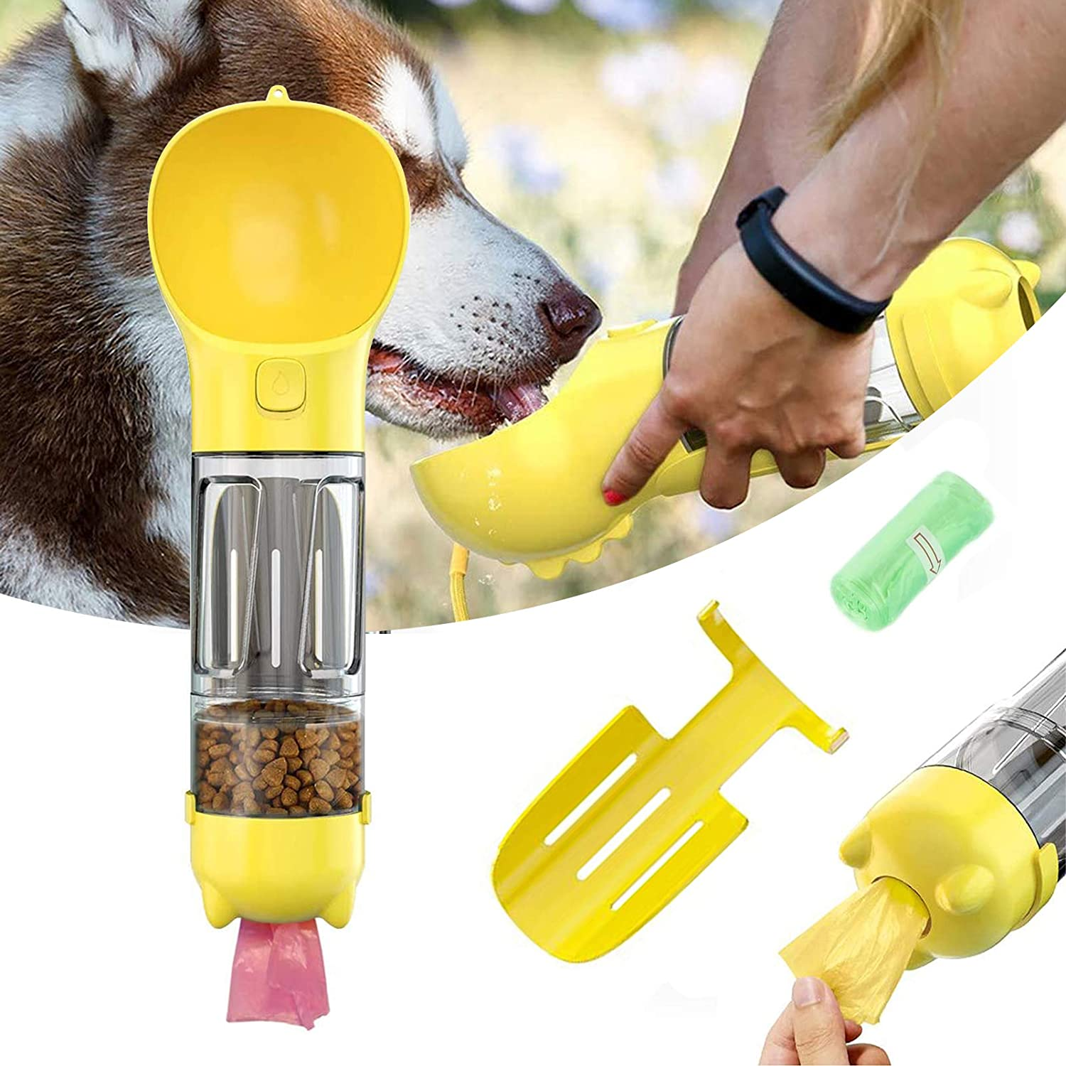 Dog Water Bottle, Puppy Water Dispenser with Drinking Bowl, Lightweight Portable with Stool Shovel Garbage Bag Storage for Pets Outdoor Walking, Hiking, Travel, Food Grade Plastic 13 OZ (Yellow)