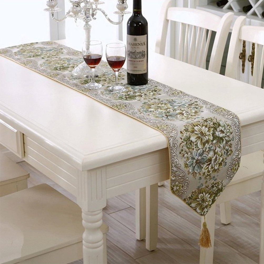 BLUETOP Dining Table Runners Classic Luxury Elegant Embroidery European Style Tassel Dining Manual Table Runners Sequined Lace with Flower Hotel Bed Coffee Table Runners (Green, 71''x11'')