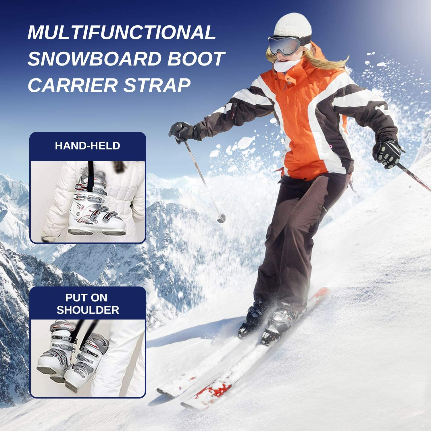Ski Pole Carriers Strap Ski Snow Winter Gear Accessory Adjustable Ski Carrier Strap for Ice Skates and Roller Skates Coolrunner Snowboard Boot Carrier Strap