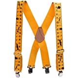 """35b59c42058 Tape Measure Suspenders 2"""" Wide Elastic Adjustable X-Back Shape with 4  Strong Clips"""