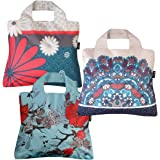 Reusable Grocery Bags- Set of 3 Boho Wanderlust Envirosax - Foldable Quality Travel or Shopping Tote. Eco-Friendly, Waterproof/Machine Washable. For Travel Shopping Arts Crafts Multi Use