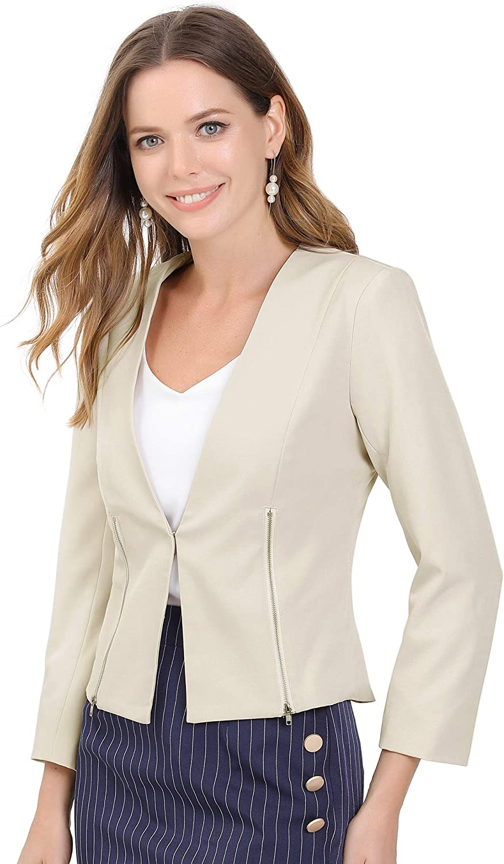 Allegra K Women's Work Office Collarless Suit Short Jacket Zipper Cropped Blazer