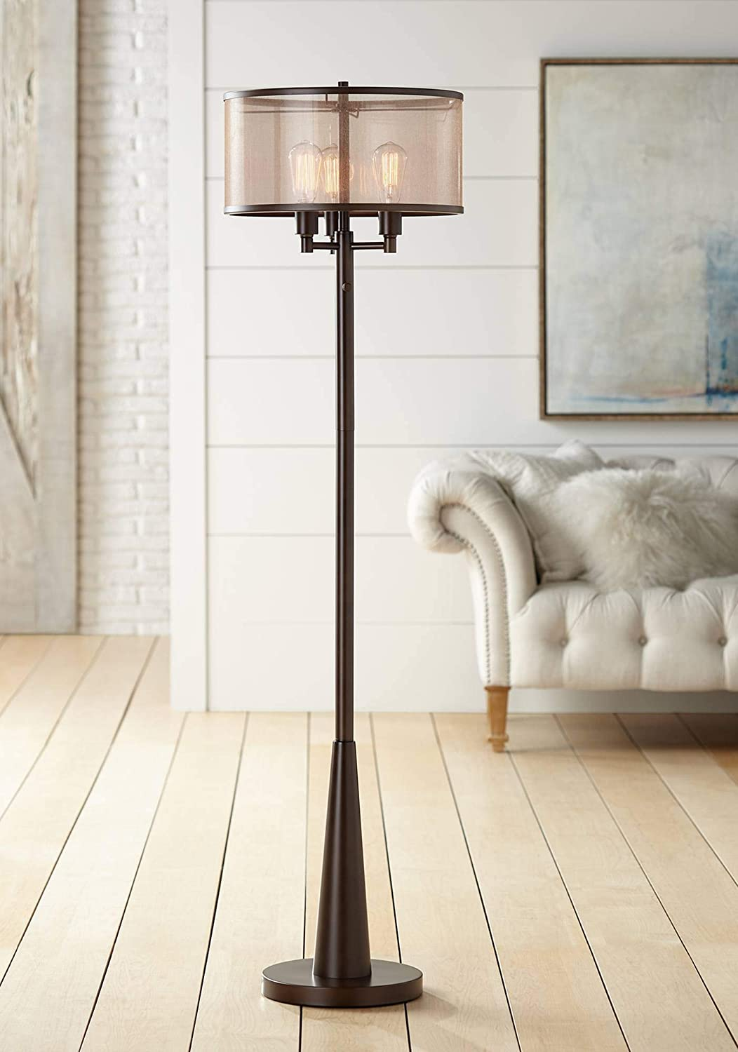 Durango Rustic Farmhouse Vintage Standing Floor Lamp 3 Light Oiled Bronze Brown Sheer Shade Antique Led Edison Bulbs For Living Room Reading House Bedroom Home Office Uplight Franklin Iron Works Amazon Com