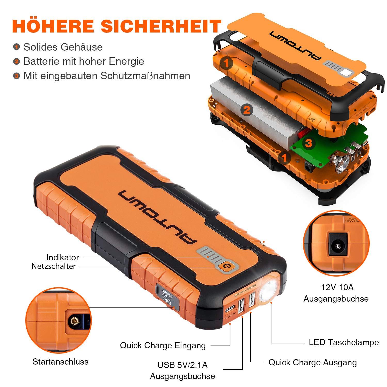 AUTOWN Starthilfe Powerbank orange KFZ Starter Powerbank mit 12V Ausgang Auto Starthilfe 10000mAh 800A Spitzenstrom