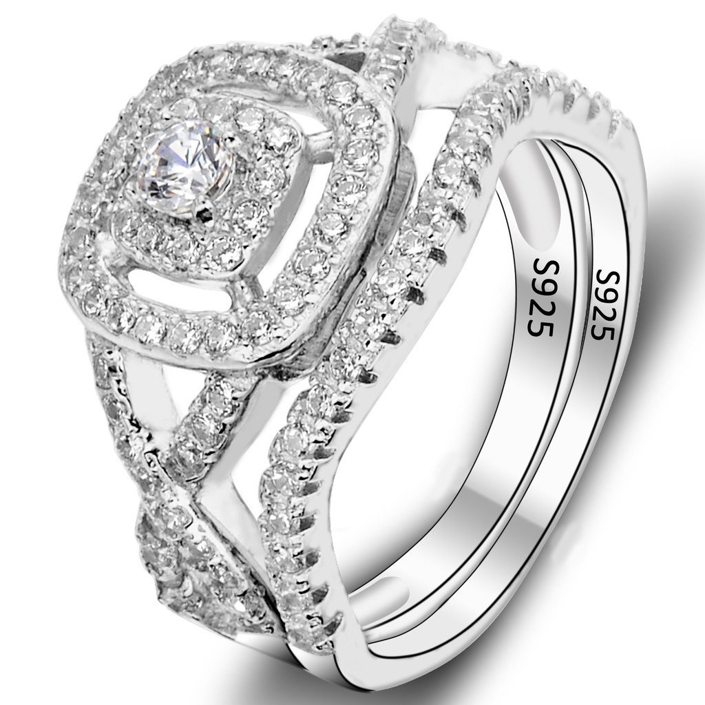 EVER FAITH 925 Sterling Silver Elegant Full Pave CZ Wedding Engagement Ring Set Clear Size 6