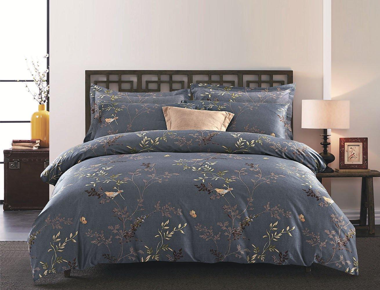 Wake In Cloud 3pcs Gray Comforter Set King, Birds Floral Flowers Leaves Pattern Printed On Dark Grey, Soft Microfiber Bedding (King Size)