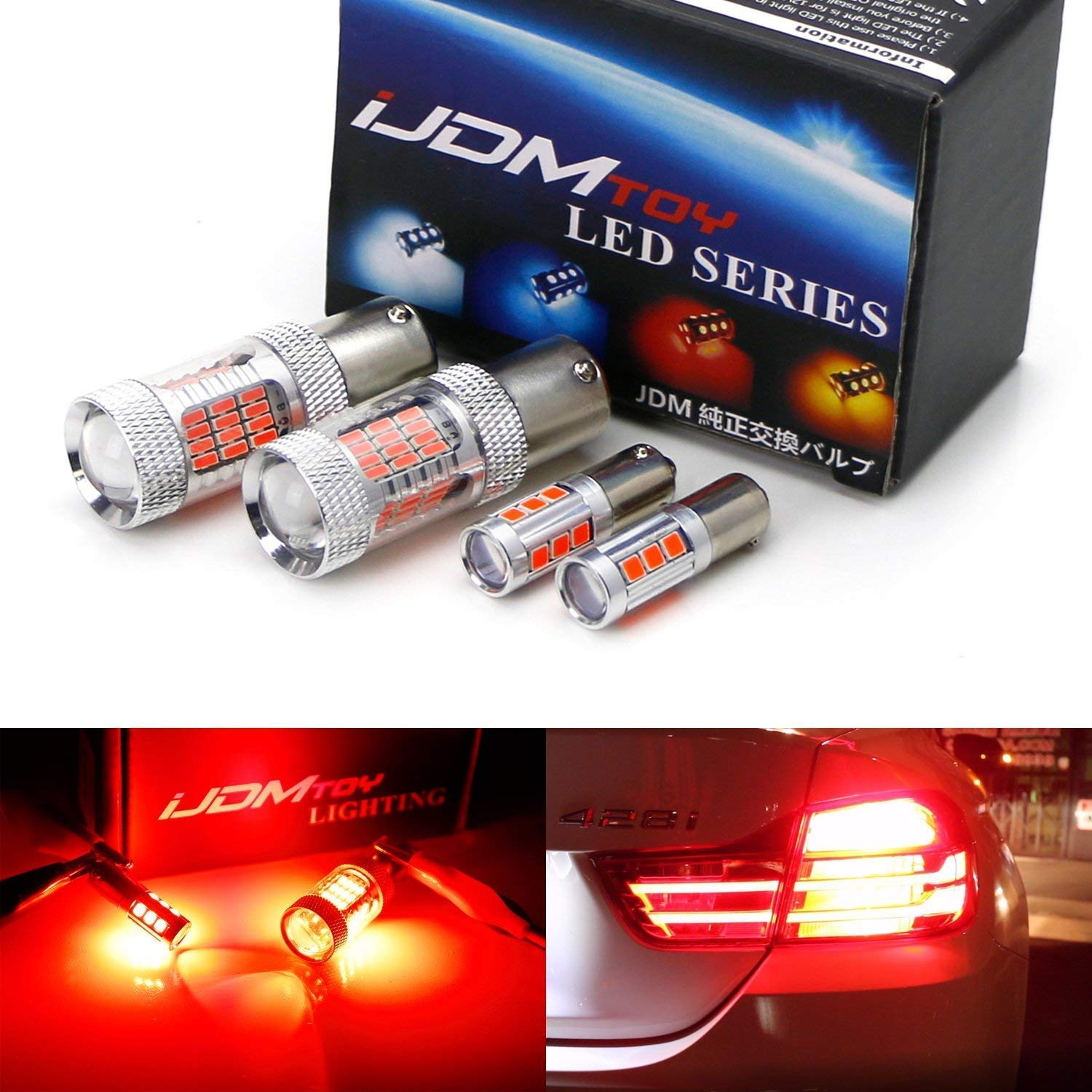 iJDMTOY 360 Degrees Brilliant Red 13-SMD H21W LED Replacement Bulbs For 2014-2017 F32//F33//F82 4 Series Brake Lights 2