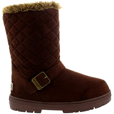 Womens One Buckle Classic Short Quilted Waterproof Winter Snow Rain Boots