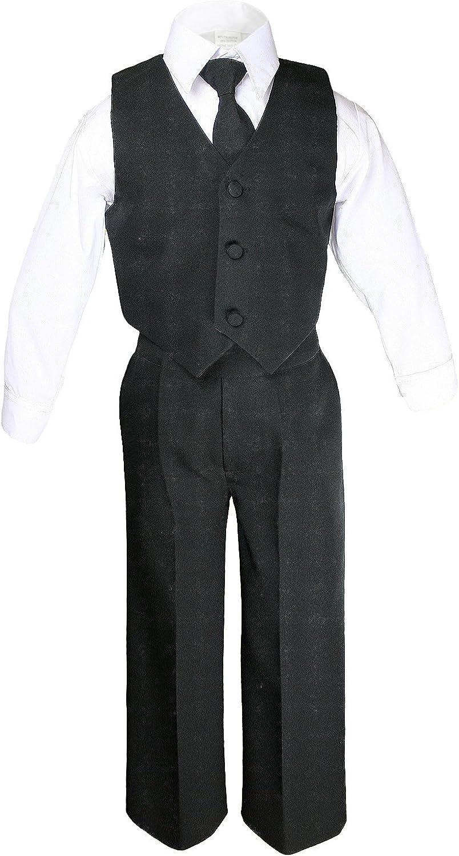 Unotux 7pc Boys Black Suit with Satin Black Vest Set S-20