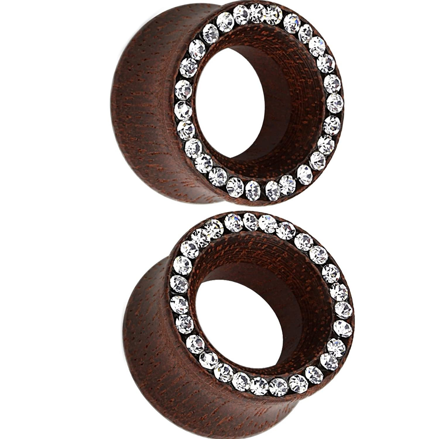 Pair of Organic Rose Wood Ear Plugs Tunnels w/Paved Clear Crystal Accent Rim NA Does Not Apply