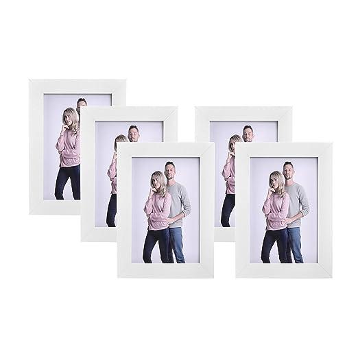 SONGMICS Juego de 5 Marcos de Fotos 10 x 15 cm, Portafotos de ...