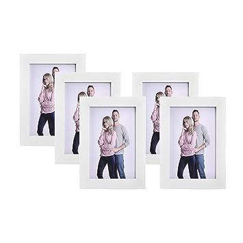 SONGMICS Bilderrahmen Set im 5er-Set, 10 x 15 cm, Fotorahmen mit Glasscheibe, Rahmen Weiß RPF35WT