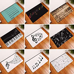 YHCWJZP Door Mat, Music Note Piano Print Non-Slip Door Mat Pad Kitchen Bathroom Carpet Rug Decor Kitchen Tools Kitchen Supplies
