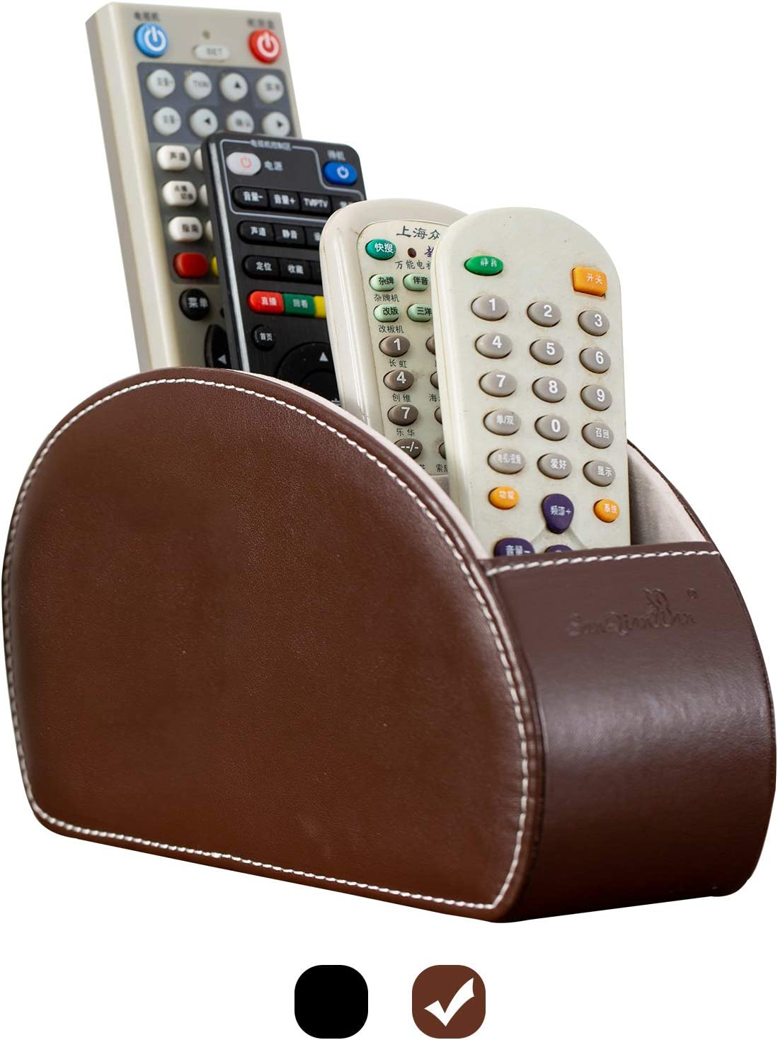 Tv Remote Control Holders Organizer Box with 5 Compartment PU Leather Multi-functional Office Organization and Storage Caddy Store Tv Remote Holders,Brush,Pencil,Glasses and Media Player (Nut brown1)