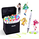 Alcohol Art Markers, Ohuhu Double Tipped Sketch Marker, Fine and Chisel Alcohol Based Drawing Markers, 60 Well-Selected…