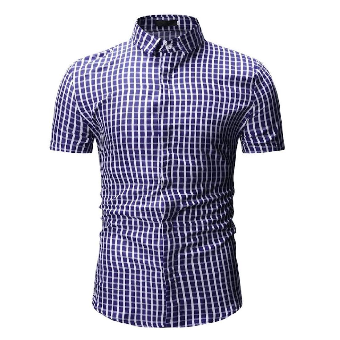 Vska Men Button Down Short-Sleeve Plaid Pattern Peaked Collar Silm Fit Longshirt