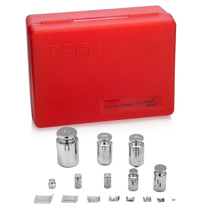 Smart Weigh El Kit de Calibración de Balanza, Incluye diferentes tamaños: 50g, 2x20g, 10g, 5g, 2x2g, 1g y 8 Diferente Tamaños de Clase: OIML Clase M2: ...