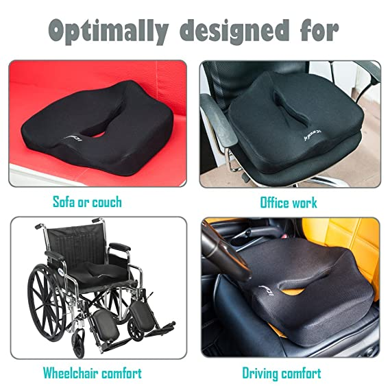 iCoudy Memory Foam Seat Cushion, Seat Cushion, Car Seat Cushion, Chair Cushion, Sciatica Cushion, Prostate Cushion, Low Back Pain Cushion (with a ...