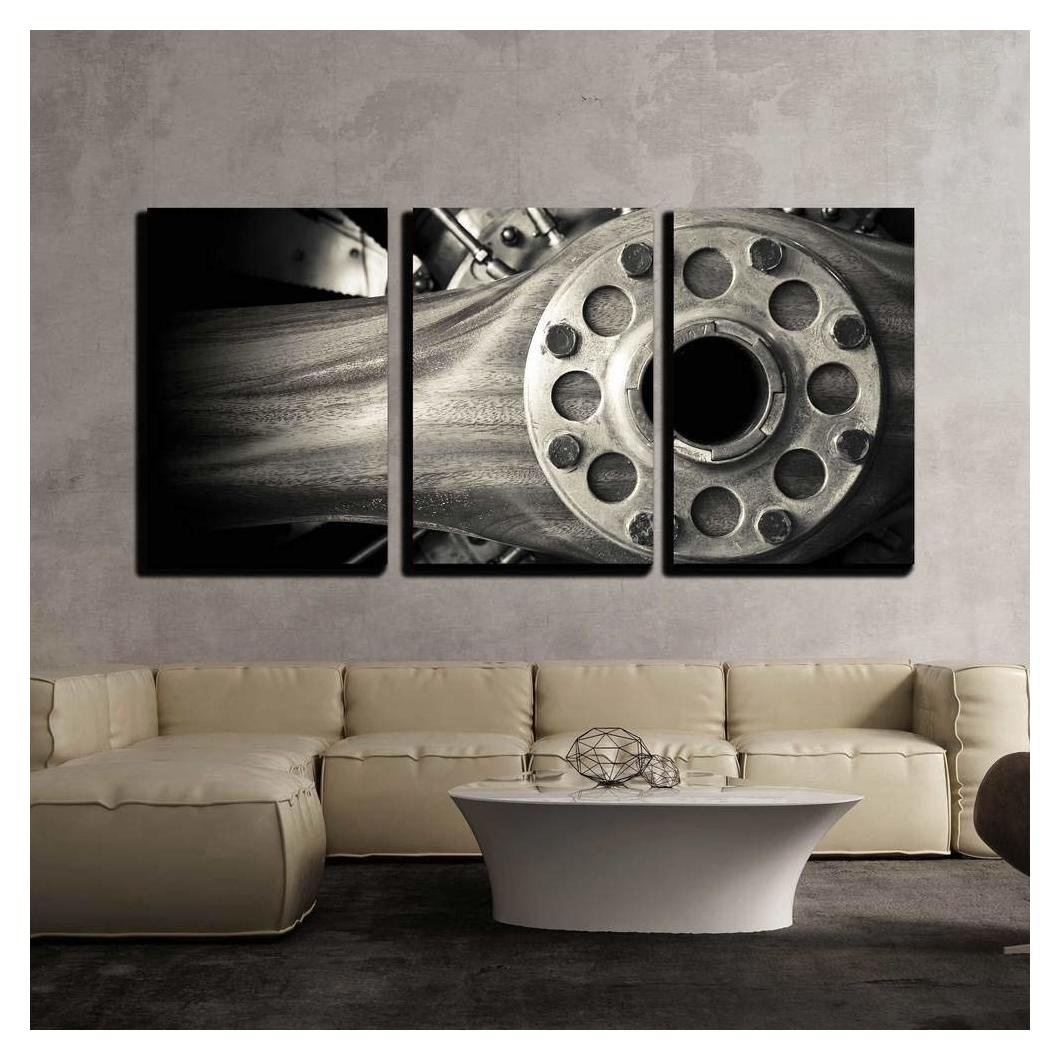 """wall26 - 3 Piece Canvas Wall Art - Wooden Aircraft Propeller and Engine Cylinders - Modern Home Decor Stretched and Framed Ready to Hang - 24""""x36""""x3 Panels"""