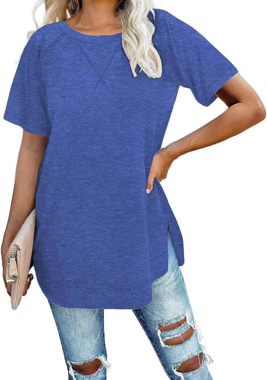 Jescakoo Long Sleeve Loose Pullover Tunic Tops Side Split Plain Shirts