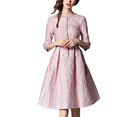 Chongfeng Comfortable New Elegant Women Jacquard Lace Dress Spring Fashion Runway Style Solid Color Slim Casual
