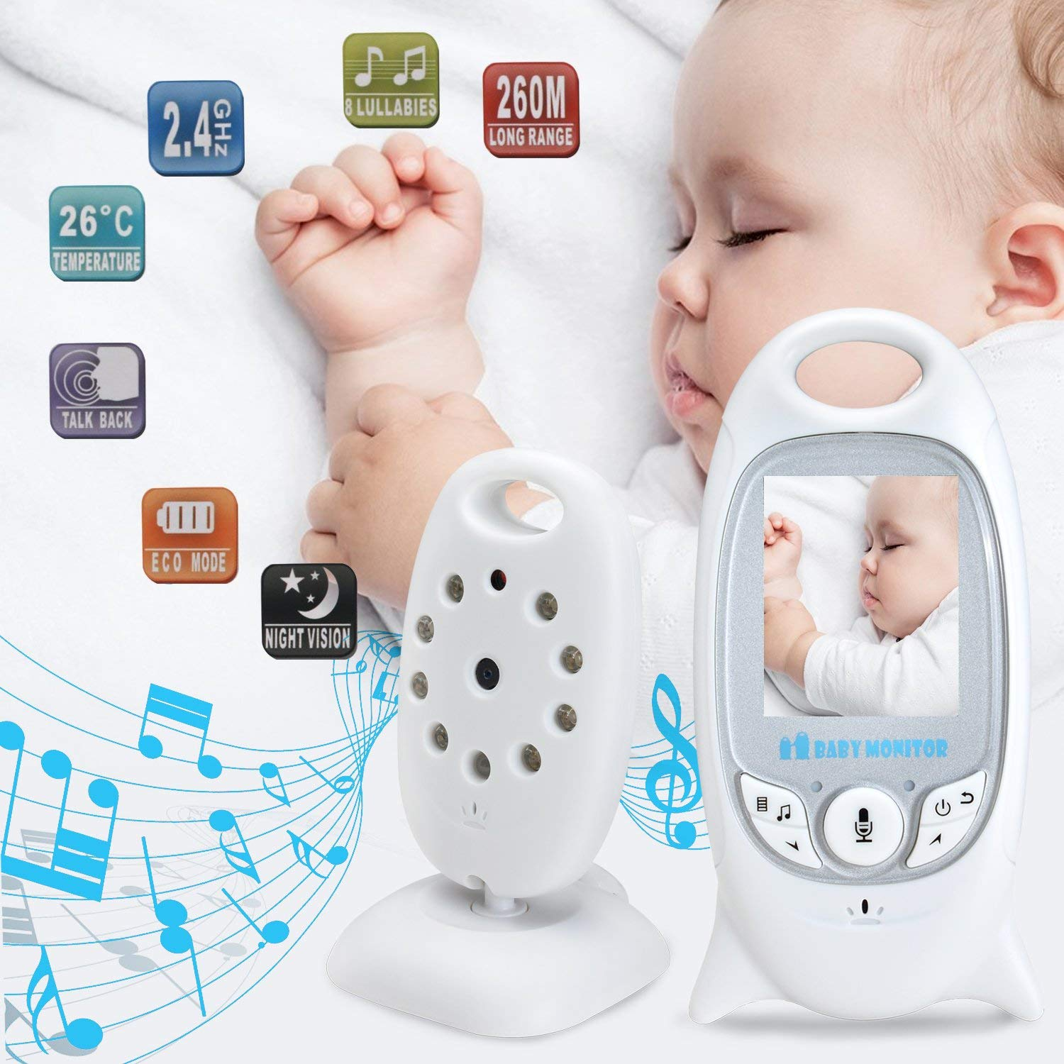 MYPIN Wireless Baby Video Monitor with Digital Camera 2.0 Inch Screen Night Vision /& Two-Way Talk LCD Display Temperature Monitor