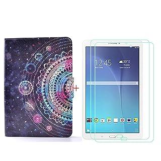 YZKJ Magnetico Cover + 2 Pezzi HD Vetro Temperato per Samsung Galaxy Tab E SM-T560 (9,6'), Film Pellicola Screen Protector Custodia schede Copertura Antiurto Protettiva SupportoCassa - LW84