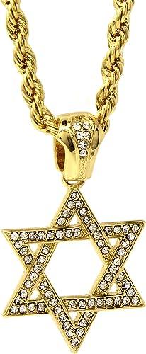 Men/'s gold  tone cz star of david Jewish  pendant rope chain necklace