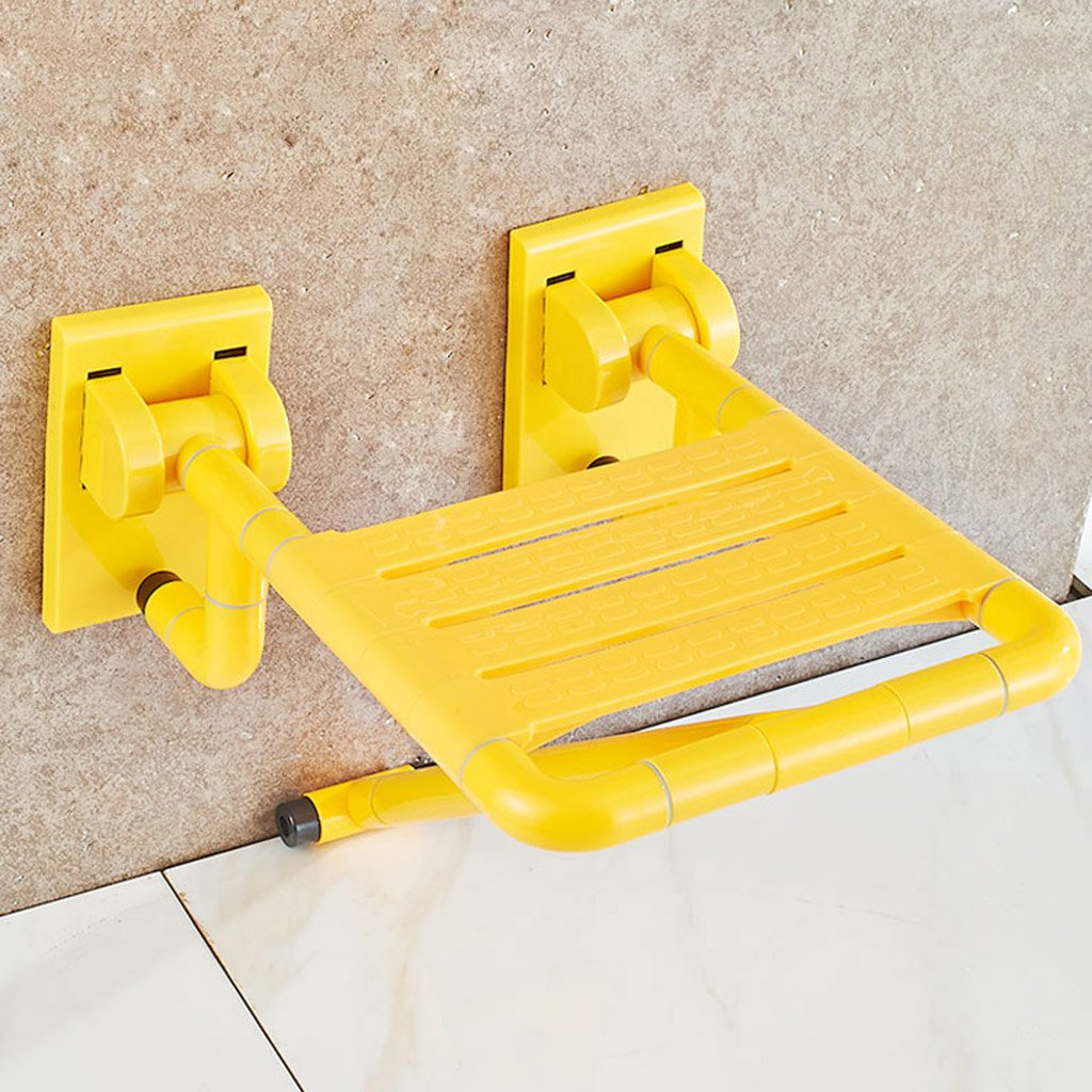 WSSF- シャワーチェア バスルームトイレ妊娠中の女性シャワーチェア靴を変えるスツールウォール高齢者が使用不可能な安全性ノンスリップ折りたたみ式水着スツール、イエロー-34.5 * 39 * 20cm   B07B7KV426