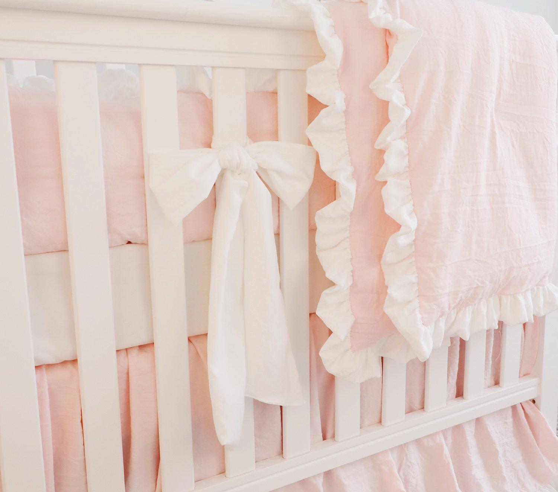 Coral, 7pcs Set with Bumper 7pc Blush Coral Ruffle Crib Bumper Bedding Set Baby Girl Bedding Blanket Nursery Crib Skirt Set Baby Girl Crib Bedding Sheet