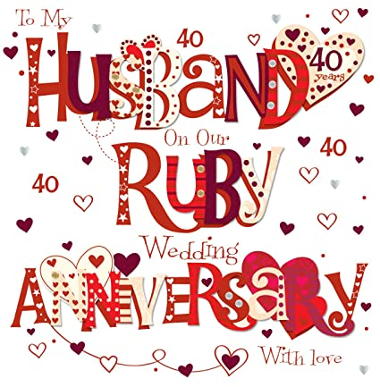 Amazon talking pictures husband ruby 40th wedding anniversary talking pictures husband ruby 40th wedding anniversary greeting card 8quot square handmade cards m4hsunfo