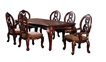 Superb Furniture Of America Victoire 7 Piece French Style Formal Dining Table Set With 20 Inch Expandable Leaf Antique Cherry Interior Design Ideas Clesiryabchikinfo