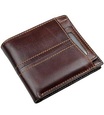 Men/'s RFID Full Grain Leather 2 ID Windows Key Pocket Spacious Trifold Wallet