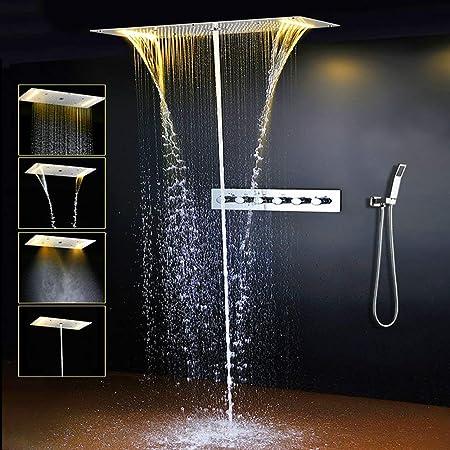 Set de accesorios de ducha de lujo con tira LED multifunción para ...
