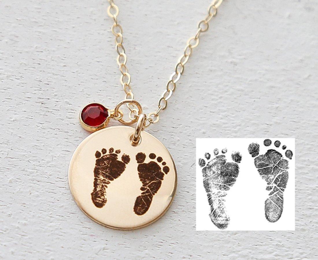 Actual Footprint with Custom Birth date Bar Necklace \u2022 Baby Footprint Necklace \u2022 Engraved Footprint Handprint Necklace \u2022 Personalized Bar