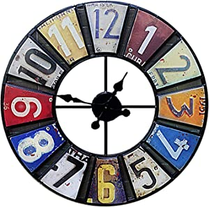 Outdoor Garden Wall Clock, 23 Inch Large Round Antique Sticker Garden Clock Open Face Wrought Iron Waterproof Outdoor Clock Indoor Outdoor Decoration Mute Quartz Wall Clock Outside Clock