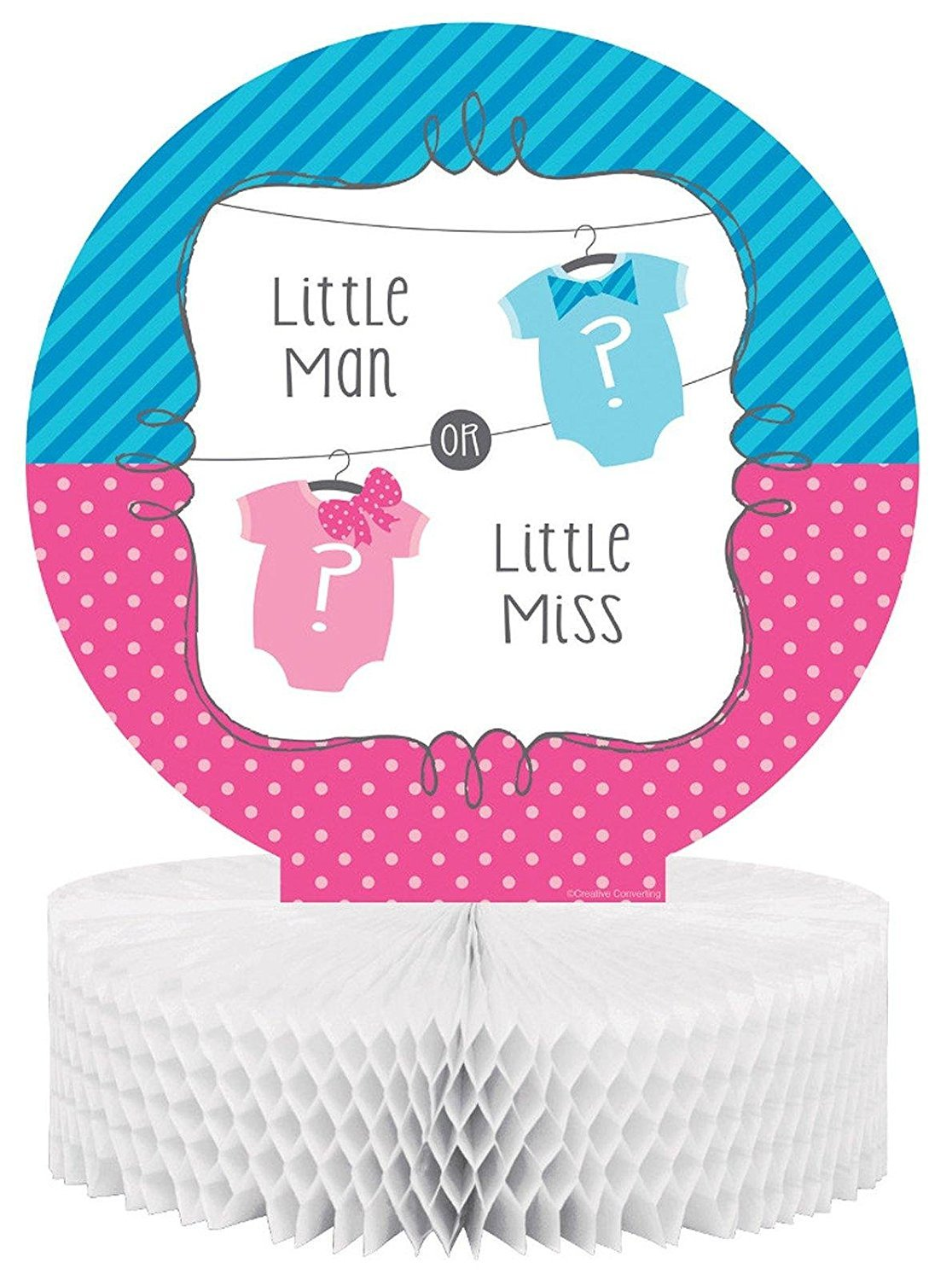 Creative Converting Bow or Bowtie? Gender Reveal Party Centerpiece Decoration