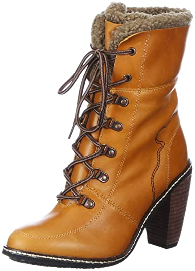 c43f39cd8d8b Feud Lila Woman Lace Boot FURR Ankle Boots Womens Brown Braun (honey ...